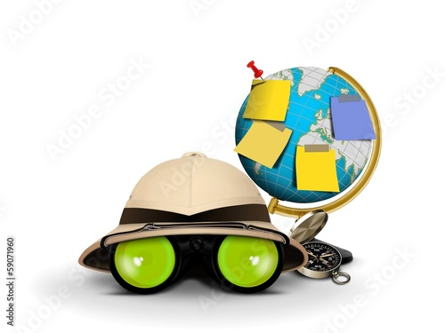 Explorer Hat with Binocular and Globe