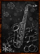 Saxophone Christmas sketch on blackboard