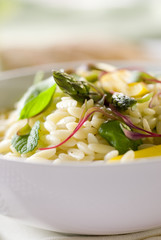 Orzo pasta salad with fresh asparagus