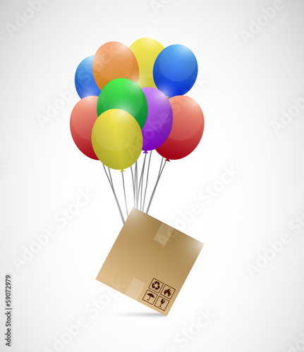 box and balloons illustration design