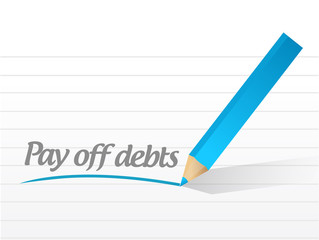 pay off debts message illustration design