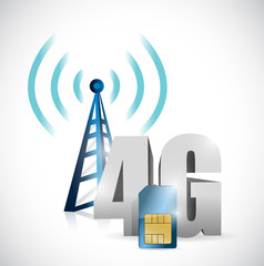 4g tower and sim card illustration design