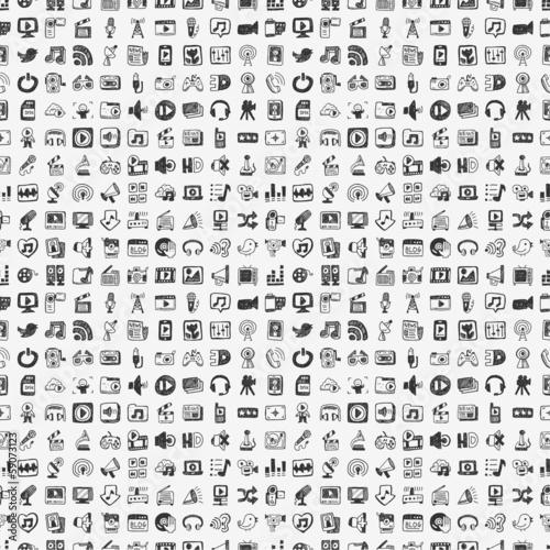 seamless doodle media pattern © notkoo2008