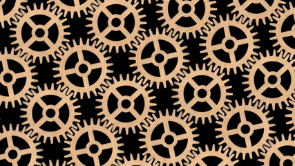 Wooden gear wheels animated background.