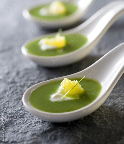 asparagus soup, creme fraiche and orange.