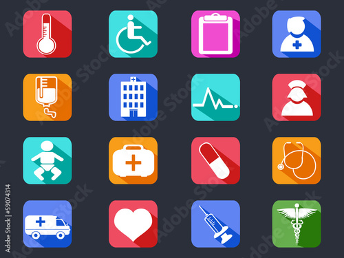 flat medical long shadow icons