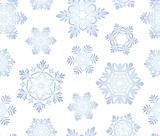 Blue icy snowflakes set seamless background