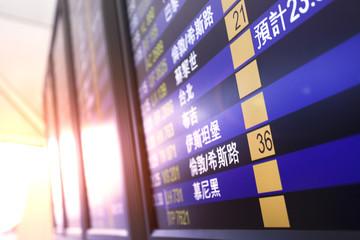 Flight display at the Hong Kong International Airport