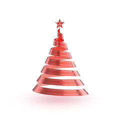 Abstract 3D christmas ribbon tree with clipping path