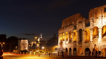 Colosseum at sunset. Rome, Italy. Time Lapse