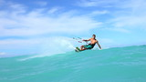 Young Man Kitesurfing in Ocean, Extreme summer sport hd