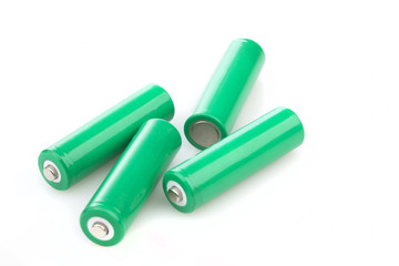Four rechargeable green eco batteries