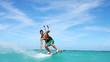 Man Kite Surfing, slow motion extreme summer sport hd.