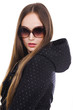 attractive young girl in black jacket with sunglasses