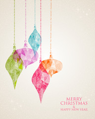 Merry Christmas hanging bauble greeting card