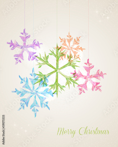 Merry Christmas hanging snowflake greeting card