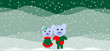 Christmas background with two cute teddy bears