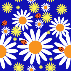 Pattern with daisies and ladybirds