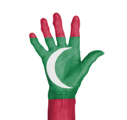 Palm of a woman hand, painted with flag