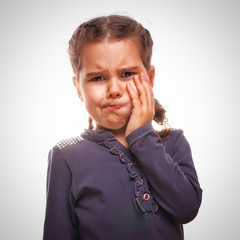 little girl child have toothache, toothache emotions large infla