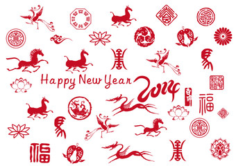 new year card with chinese traditional element