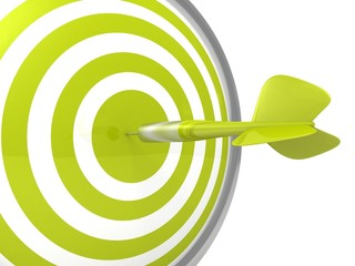 conceptual green dart target board with an arrow in center