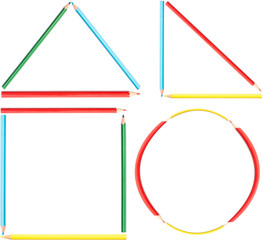 Coloring Pencils Geometry Shapes