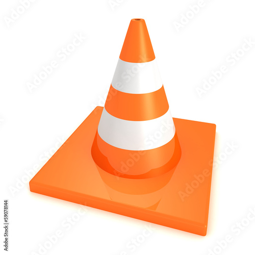 Traffic orange road under construction cone on white background