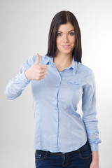 woman showing thumb up sign