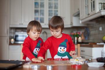 Boys, baking gingerbread cookies