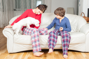 Mother and son in pajamas