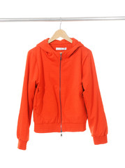 Woman red jacket clothes on a hanger