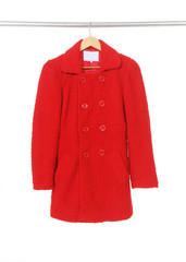 female red coat on hanger