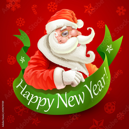 New Year card with Santa Claus on red background