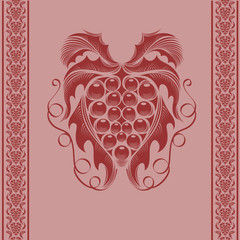 wine grape engraving background