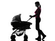 woman walking prams baby silhouette