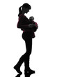 woman mother walking baby silhouette