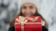 Pretty Young Woman Holding Christmas Present Box Winter Outdoors