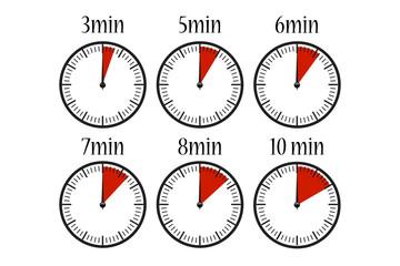 Uhr Minuten Vektor Set