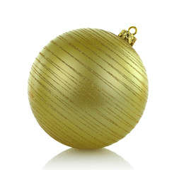 Large golden Christmas ball isolated on white background
