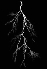 bright lightning isolated on black illustration