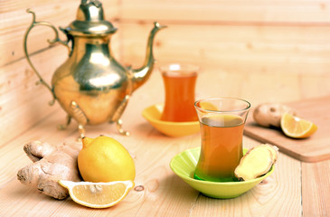 Turkish tea with ginger and lemon