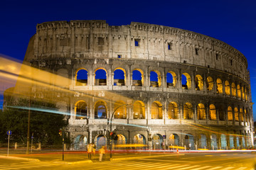 Night view of Colosseum in Rome in Italy