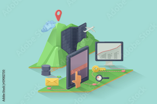 Computer device vector illustration, web design