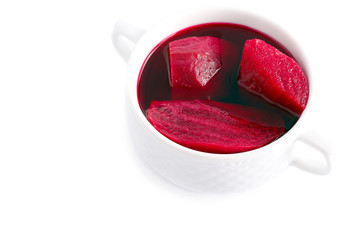 Bowl with beetroot pieces
