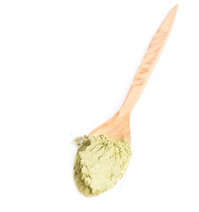 Green powder of matcha tea