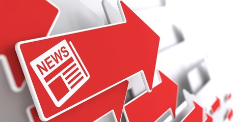 Newspaper Icon with News Title on Red Arrow.