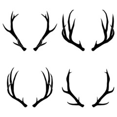 Silhouettes of deer antlers-vector