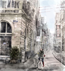 Illustration of city street.  Girl  riding on the bicycle. Water