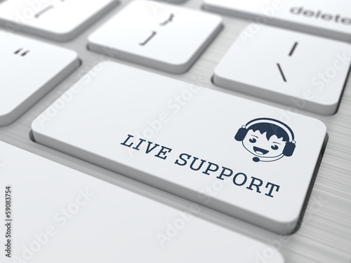 Live Support on White Keyboard Button.